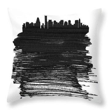 Boston Skyline Brush Stroke Black Throw Pillow