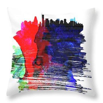 Boston Skyline Brush Stroke Watercolor   Throw Pillow