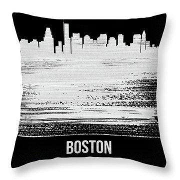 Boston Skyline Brush Stroke White Throw Pillow