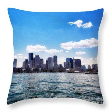 Boston Skyline From Boston Harbor  Throw Pillow