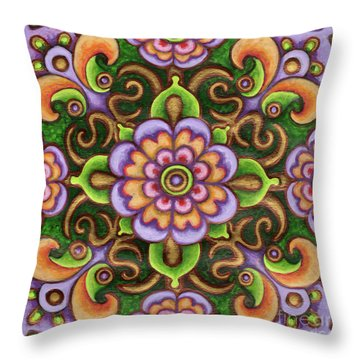 Botanical Mandala 5 Throw Pillow