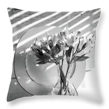 Bouquet And Plate-bw Throw Pillow