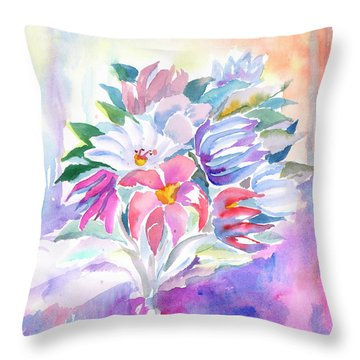 Throw Pillow featuring the painting Bouquet By The Window by Dobrotsvet Art