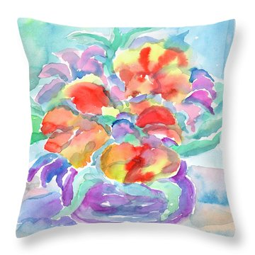 Throw Pillow featuring the painting Bouquet Of Flowers by Dobrotsvet Art