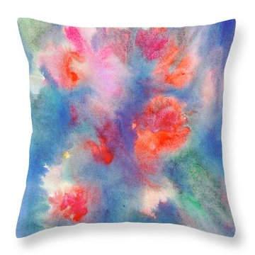 Throw Pillow featuring the painting Bouquet Of Roses by Dobrotsvet Art