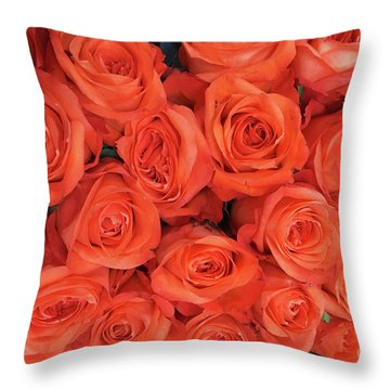 Bouquet Of The  Living Coral Roses Throw Pillow