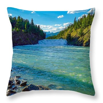 Bow River In Banff Throw Pillow