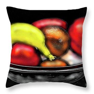 Throw Pillow featuring the digital art Bowl Of Fruit by James Fannin