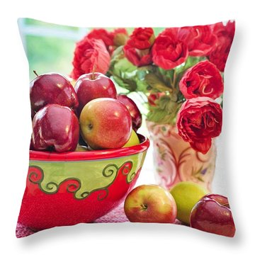 Bowl Of Red Apples Throw Pillow