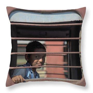 Boy On A Train Throw Pillow