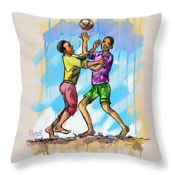 Boys Playing With A Ball Throw Pillow