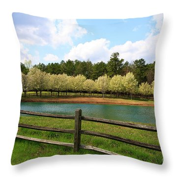 Bradford Pear Trees Blooming Throw Pillow
