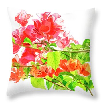 Branch Of Bougainvillea On White Throw Pillow