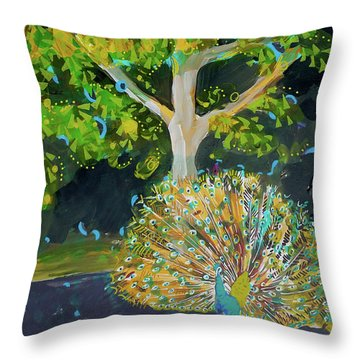 Branching Out Peacock Throw Pillow