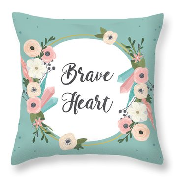 Brave Heart - Boho Chic Ethnic Nursery Art Poster Print Throw Pillow