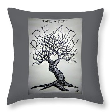 Throw Pillow featuring the drawing Breathe Love Tree - Blk/wht by Aaron Bombalicki