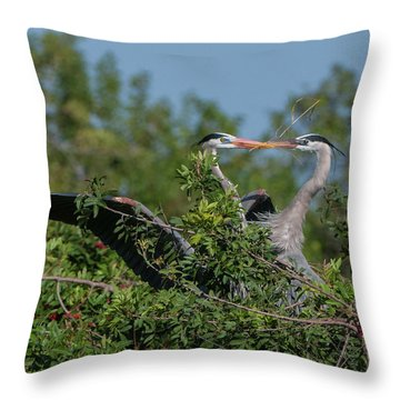 Breeding Herons Throw Pillow