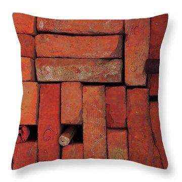 Throw Pillow featuring the photograph Bricks by Attila Meszlenyi