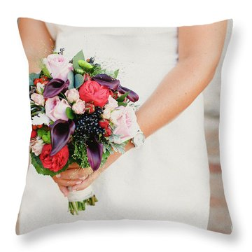 Bridal Bouquet Held By Her With Her Hands At Her Wedding Throw Pillow