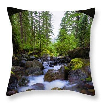 Bridge Below Rainier Throw Pillow