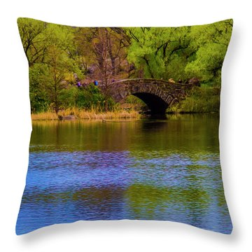 Bridge In Central Park Throw Pillow