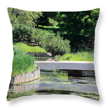 Bridge Over Pond In Japanese Garden Throw Pillow