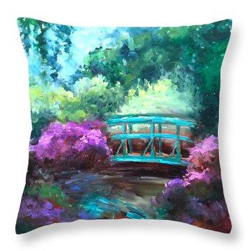 Bridge To Monet Throw Pillow