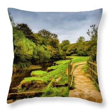 Bridge With Falling Colors Throw Pillow
