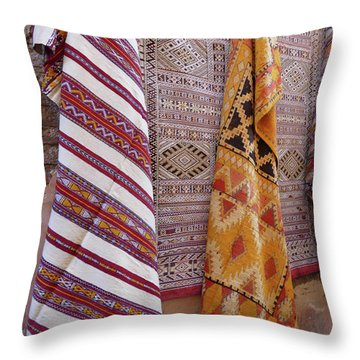 Bright Colored Patterns On Throw Rugs In The Medina Bazaar  Throw Pillow