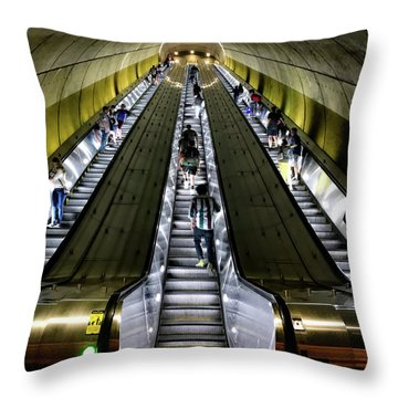 Bright Lights, Tall Escalators Throw Pillow