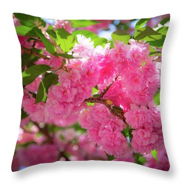 Bright Pink Blossoms Throw Pillow