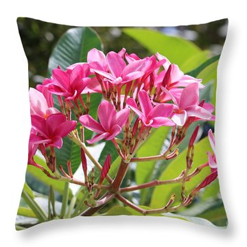 Bright Plumeria Throw Pillow