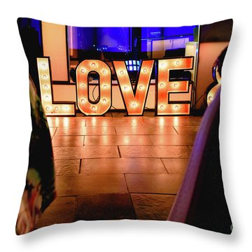 Bright Wooden Letters With Word Love In A Party Throw Pillow