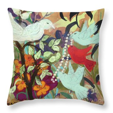 Throw Pillow featuring the painting Bringin' Momma Beads by Robin Maria Pedrero