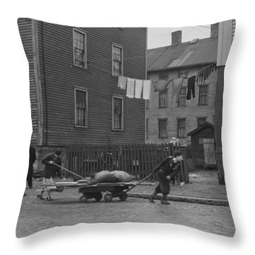 Bringing Home Some Salvaged Firewood In Slum Area In New Bedford  Massachusetts Throw Pillow