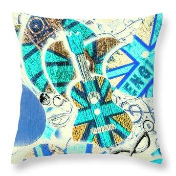 Britain Blues Throw Pillow