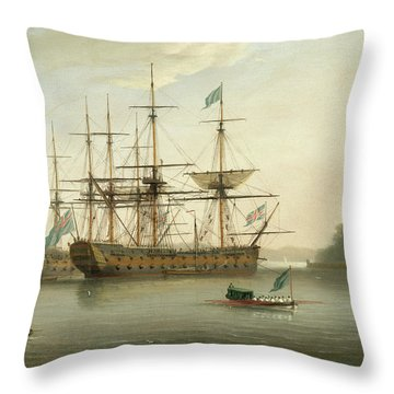 British Naval Ships Moored Off Mount Edgcumbe, Plymouth Throw Pillow