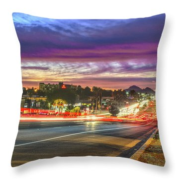 Broadway Sunset, Tucson, Az Throw Pillow