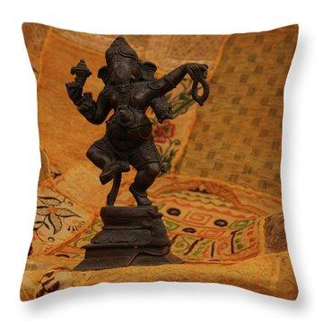 Bronze Ganesha Dancing Throw Pillow