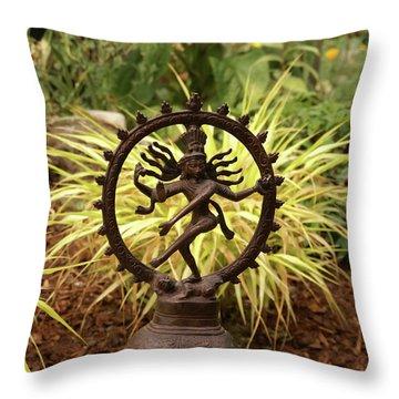 Bronze Shiva In Garden Throw Pillow