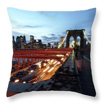 Throw Pillow featuring the photograph Brooklyn Bridge by Edward Lee