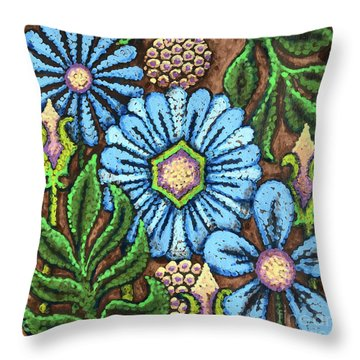 Brown And Blue Floral 1 Throw Pillow