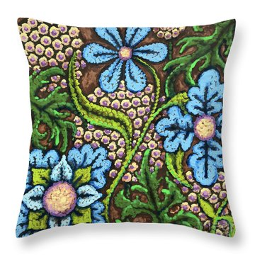 Brown And Blue Floral 2 Throw Pillow