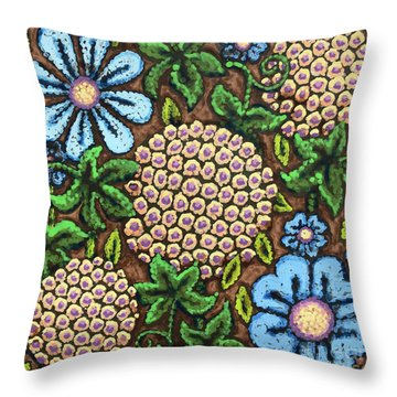 Brown And Blue Floral 3 Throw Pillow
