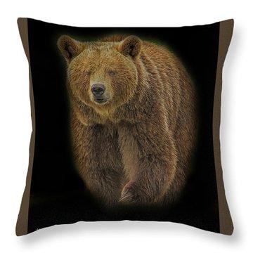 Brown Bear In Darkness Throw Pillow