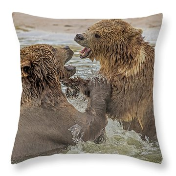 Brown Bears Fighting Throw Pillow