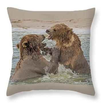Brown Bears Fighting Throw Pillow