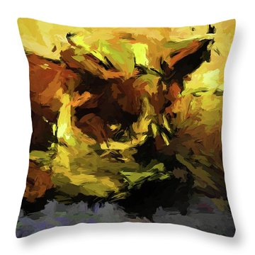 Brown Cat On The Cushion Throw Pillow