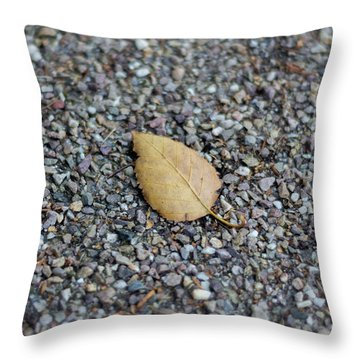 Throw Pillow featuring the photograph Brown Leaf On Gravel by Scott Lyons