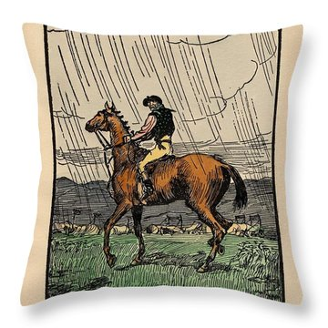 Throw Pillow featuring the painting Brown Stallion, Omey by Val Byrne